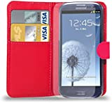 Samsung Galaxy S3 i9300 - Leather Wallet Case Cover Pouch + Screen Protector & Polishing Cloth ( Wallet Red )