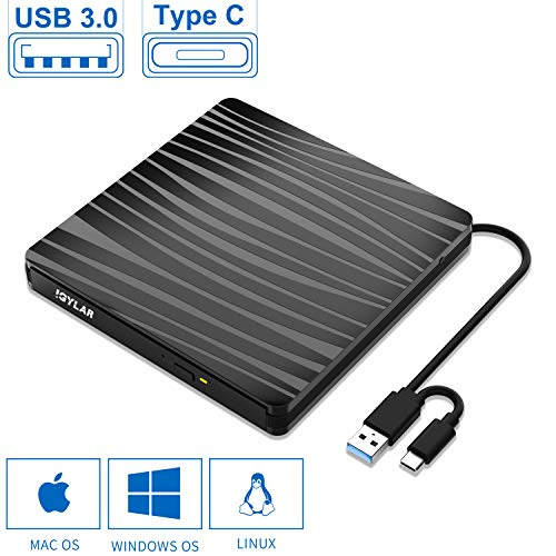 IGYLAR Externes DVD/CD Laufwerk Brenner USB 3.0 und Type-C-Schnittstelle, Slim Tragabar Externe DVD-RW DVD/CD,kompatibel mit Win10 /8.1/7/XP/Vista/Linux,Laptop,Desktop,Mac/MacBook Air/Pro/iMac/PC - Externer Macbook Cd-dvd-laufwerk Air