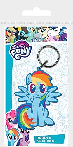My little Pony Schlüsselanhänger aus Gummi, Mehrfarbig, 4.5 x 6 cm (Dash Cartoon Rainbow)