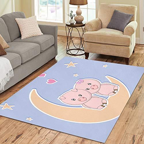 Nette fröhliche Piggy Moon Pig große benutzerdefinierte rutschfeste moderne Bodenfläche Teppich Pad Matte orientalischen kommerziellen Teppich Keller Schlafzimmer Wohnzimmer Wohnkultur 5'x7 'Indoor