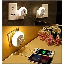 Mabor Lámpara LED de Noche con Doble Puerto de USB Sensor Crepuscular Automático Enchufe a Pared para Pasillo Oscuro