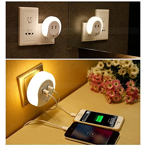 Mabor Lámpara LED de Noche con Doble Puerto de USB Sensor Crepuscular...
