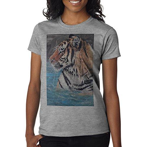 Illuminati Triangle Art Majestic Tiger In The Water Background Damen T-Shirt Grau
