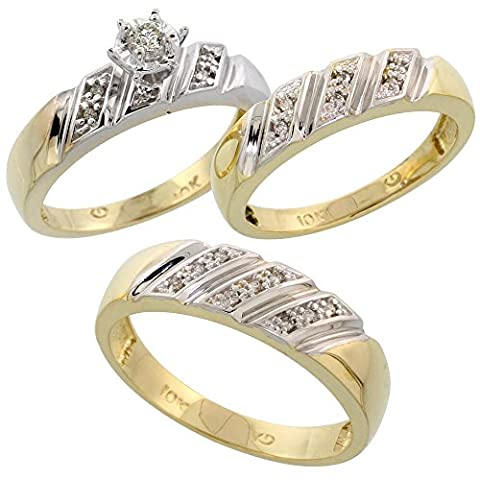 9ct Gold 3-Piece Trio Diamond Wedding Band Set, His (6mm) & Hers (5mm) Ladies Size O