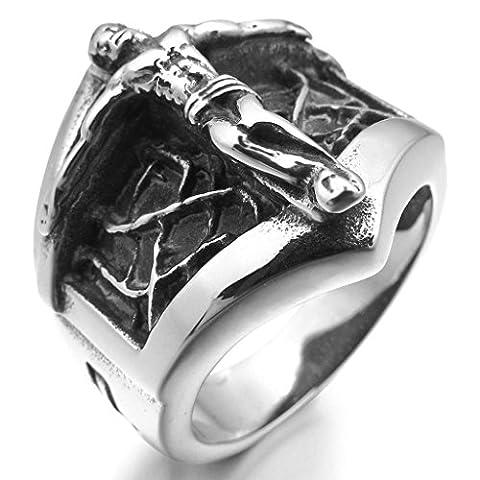 Epinki,Men's Stainless Steel Rings Silver Black Jesus Christ Crucifix Cross Shield Vintage Size R 1/2