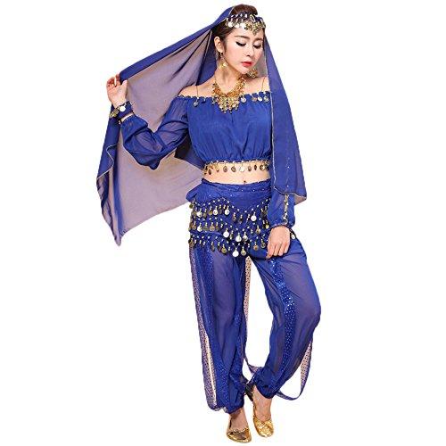 Bauchtanz Kostüm Pharaonen - Sllowwa Damen Bauchtanz Kostüme Set Bellydancer Indische Dancing Dress Kleidung Top Hosen(Blau,Medium)