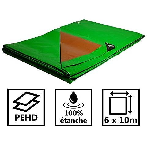 Bâche toiture 250g/m² verte et marron - Couverture toiture 6x10