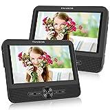FANGOR 7,5 Zoll Auto DVD Player 2 Bildschirmen Tragbarer Kopfstützen Fernseher Dual Monitore 5 Stunden Akku, Unterstützung USB/SD/AV IN&Out(1 Host +1 Slave)