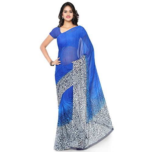 Vaamsi Women's Chiffon Saree With Blouse Piece(Rc3219_Blue_Free Size)