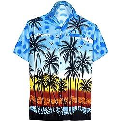LA LEELA | Funky Camisa Hawaiana | Señores | XS-7XL | Manga Corta | Bolsillo Delantero | impresión De Hawaii | Playa |diferentes colores | para la Playa Fiestas, Verano y Vacaciones Azul_W132 S