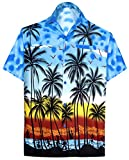 LA LEELA | Funky Camicia Hawaiana da Uomo | XS - 7XL | Maniche Corte | Tasca Frontale | Stampa Hawaiana | Estivo Estate Spiaggia Palme Blu_W132 XXL - Torace (in CMS) : 137-149