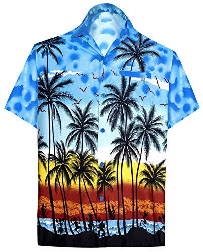 LA LEELA | Funky Hawaiihemd | Herren | Kurzarm | Front-Tasche | Hawaii-Print | Strand Palmen Meer Blau_W132 XS - Brustumfang (in cms) : 91-96 -