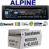Mercedes A-Klasse W169 Audio 5 - Autoradio Radio Alpine CDE-203BT Bluetooth CD USB MP3 1-Din Auto Einbauzubehör - Einbauset