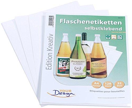 Your Design Etiketten: 128 Inkjet-Flaschenetiketten 10x13 cm naturweiß/wischfest (Bedruckbare Flaschenetiketten)