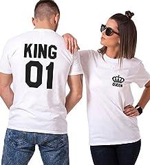 Idea Regalo - Couple Shirt King Queen San Valentino Stampa T-Shirt Coppia 100% Cotone Maglietta Fidanzati Manica Corta Bianco Nero Uomo Donna Regalo (Bianco+Bianco,L+S)