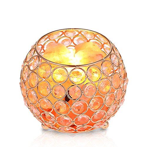 Nachttischlampe Salzlampe, Tomshine 15W Warmweiß Himalaya Salzlampe Dimmbar Nachtlicht Kristall Tischlampe für Wohnzimmer Schlafzimmer - Wohltuende Wärme Salz
