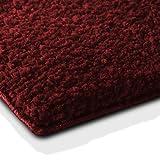 Badematte | kuscheliger Hochflor | Rutschfester Badvorleger | viele Größen | zum Set kombinierbar | Öko-Tex 100 Zertifiziert | 50x80 cm | Berry Red/Weinrot