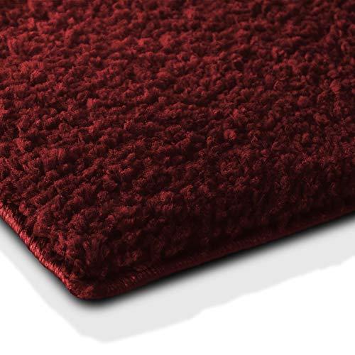 Badematte | kuscheliger Hochflor | Rutschfester Badvorleger | viele Größen | zum Set kombinierbar | Öko-Tex 100 Zertifiziert | 70x120 cm | Berry Red/Weinrot