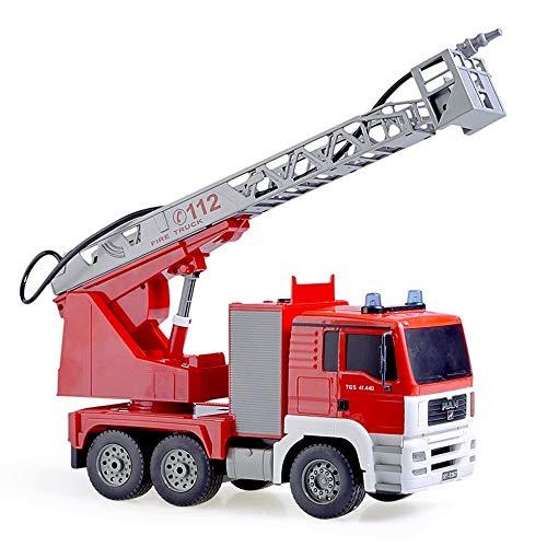 Pkjskh Red Ladder-Rettung Auto Boy Four Wheel Drive-Spielzeug-Auto-Fernbedienung Wasserstrahl Löschfahrzeug Electric Sound and Light Charging-Spielzeug-Auto (Color : 2 batteries)