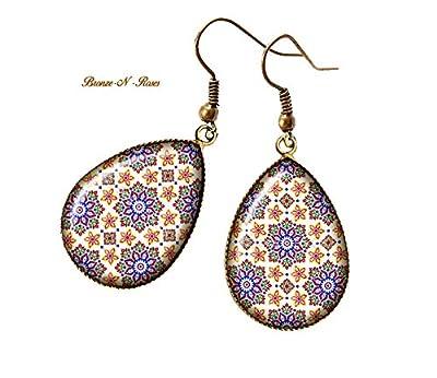 Boucles d'oreilles gouttes Mosaïque bijou oriental marocain cadeau Noël