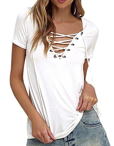 Minetom Femme Sexy Encolure V T-Shirt Manches Courtes Tops Bandage Lacets Blouses Chemisier Blanc