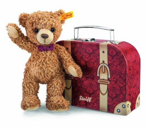 Steiff 109973 - Teddybär Carlo im Koffer, 23 cm, goldbraun