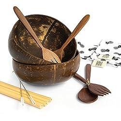 Bowl de coco (2 und) | Cuencos Naturales | Incluye 2 Juegos de cubertería Reutilizables
