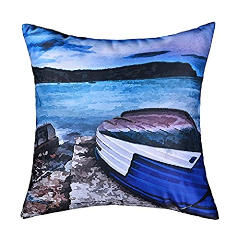 King Rose Accent Throw Pillow Blue Sailing Boat Covers Oil Printing Cushions Covers for Home Deor 17 x 17 Inches