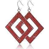 QIYUEQI Ms Ohr Schrauben und stilvollen Edelstahl Diamant vier Seitenwände Bohren Ohrschmuck Stil Ohrringe Ohrschmuck Rot