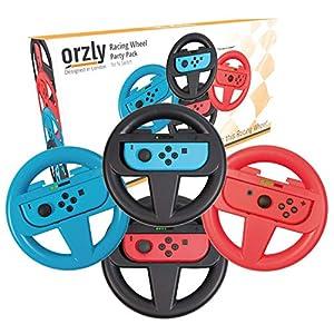 Orzly Lenkrad Vier Pack für Mariokart Nintendo Switch Version – Steering Wheel Zubehörset beinhaltet 4X Lenkrad Aufsatz…