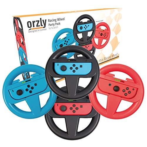 ORZLY® Lenkrad Vier Pack für Mariokart Nintendo Switch Version - Steering Wheel Zubehörset beinhaltet 4X Lenkrad Aufsatz Nur (1x BLAU + 1x ROT + 2X SCHWARZ) (Konsole und Joy-Cons Nicht enthalten)