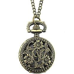 YouYouPifa Bronze Three Flower Pattern Hollow Small Pocket Watch