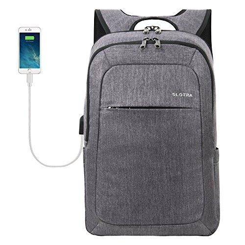 SLOTRA Laptop Rucksack 15.6 Zoll, Herren Business Rucksack Laptop Backpack mit USB-Ladeanschluss für Arbeit Wandern Reisen Schul