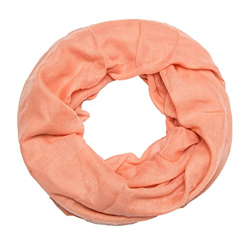 ManuMar Loop-Schal einfarbig   Hals-Tuch in Uni-Farben   einfarbig Dunkel-Hautfarben als perfektes Sommer-Accessoire   klassischer Damen-Schal - Das ideale Geschenk für Frauen