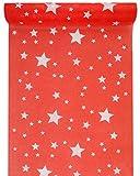Sachsen Versand 5 Meter Nr.2 Tischläufer-Deco-Band Weihnachten Sterne Merry Christmas rot-weiß Sterne
