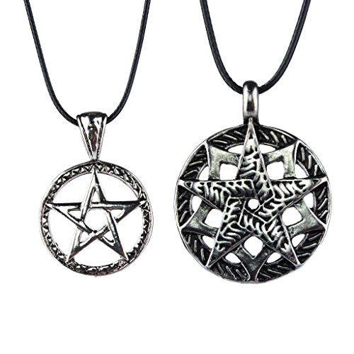 P Prettyia 2pcs Amuleto Odin 's Símbolo De Pentagrama Nórdico De Protección Colgante