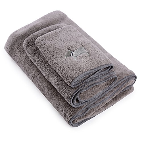 Topmail 3er Duschtuch Set Baumwolle 1 Badetuch und 2 Handtücher aus 100% Polyester Weich Flauschig Absorbierend für Baden Schwimmen Waschen Sauna Schönheitspflege(3 TLG. Dunkel Grau)