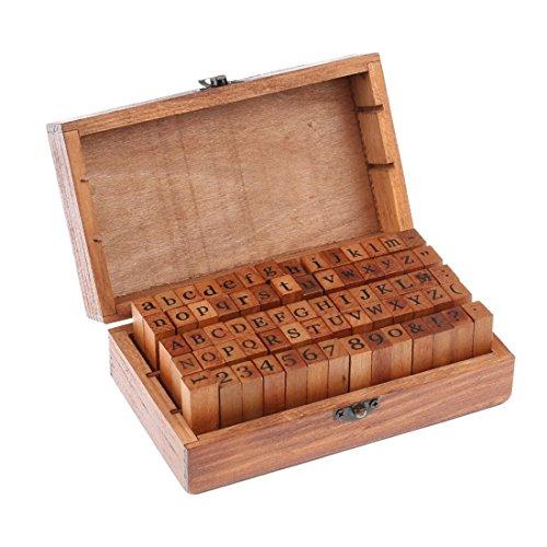 Trixes Gummi-Stempel Set mit Holzgriffen mit 70 Buchstaben Stempeln Groß- und Kleinbuchstaben Alphabet Zahlen und Symbole -