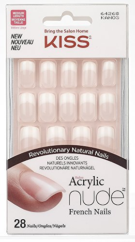 Kiss Acrylic Nude French Cashmere, Kit Unghie Artificiali 28 Unghie + Colla, Stile French, Medie - 32 gr