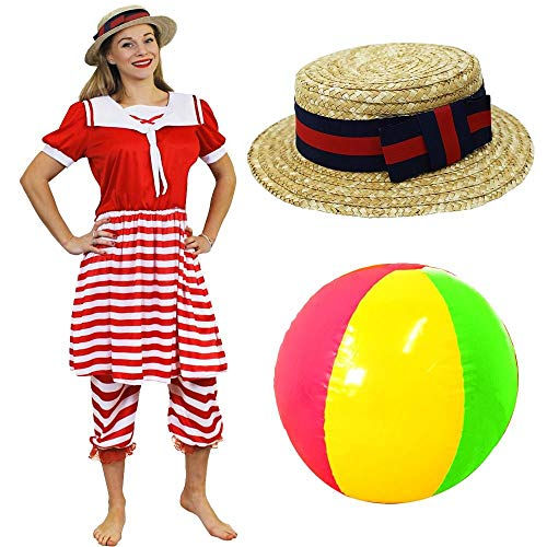 Women;s Victorian Swimmer Costume with Boater Hat and Colourful Beachball.
