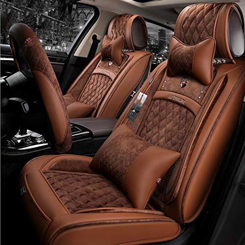 Preisvergleich Produktbild QLL 5-Sitz-Universal Autositzbezug,  Atmungsaktiv Rutschfest,  Im Winter Warm Halten Diamantgitter,  6 Farben Optional, Brown