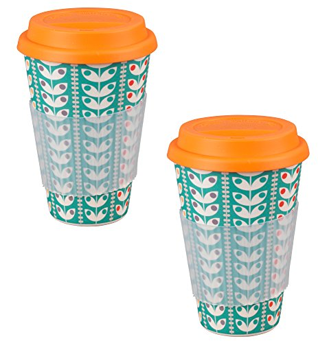 Cambridge CM04438 Retro Daisy Bamboo Eco Travel Mug, Set of 2