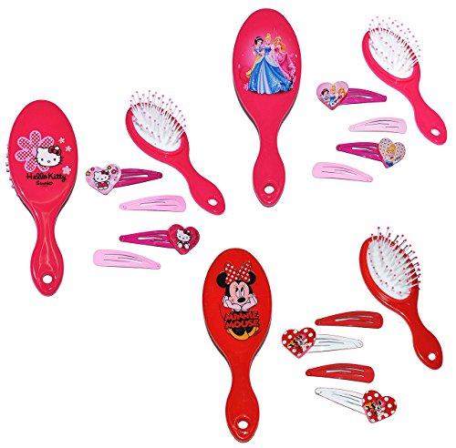 3 Set´s: Haarbürste + Haarspangen - für Mädchen / Kinder - Minnie Mouse - Hello Kitty - Princess Prinzessinnen - Schmuck Haarschmuck - Blumen rosa Accessoires Haarspange / Haarspangen - Haarclips