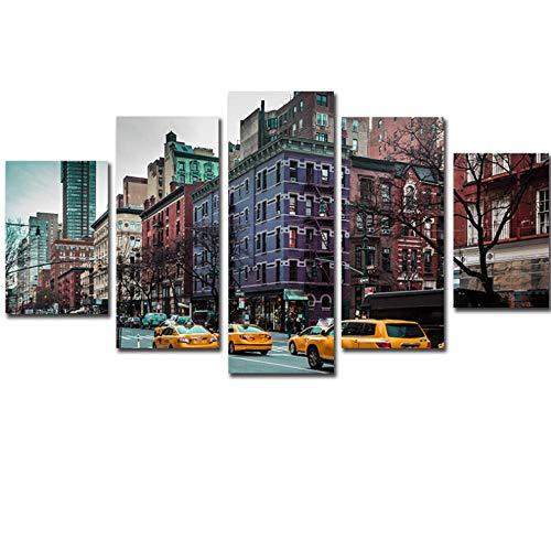 5 Pezzi Canvas Tipo - 2019 offerta speciale pittura a olio 5 pezzo new york auto tela pittura moderna home decor wall art stampa per soggiorno - Immagini Moderni Murale