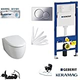 Geberit Duofix UP 320 Vorwandelement mit Sigma01 CHROM, Keramag ICON XS , rimfree, Spülrandlos, Tiefspül-WC, inkl. Sitz ,Keratect Beschichtung