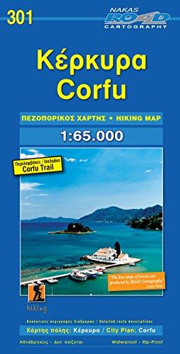 Korfu (Corfu) + Stadtplan 1 : 65 000 -