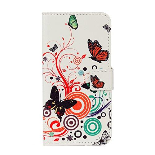 QUENJOY® UltraSlim Case Hülle für LG Mobile K8 (2017),Dünnes Flip Cover Swivel Holster Handy Tasche mit Kartenfach und Ständerfunktion für LG K8 2017 (LGM200N) 5 Zoll Etui - Butterfly