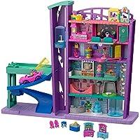 Polly Pocket Pollyville Le Centre Commercial, voiture, 2 mini-figurines Polly et Lila, accessoires et autocollants, jouet enfant, édition 2019, GFP89