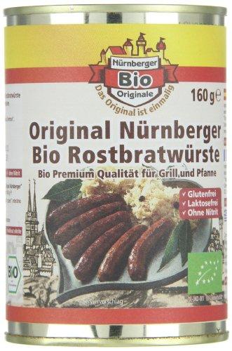 Nürnberger Bio Originale Rostbratwürste, 1er Pack (1 x 160 g)