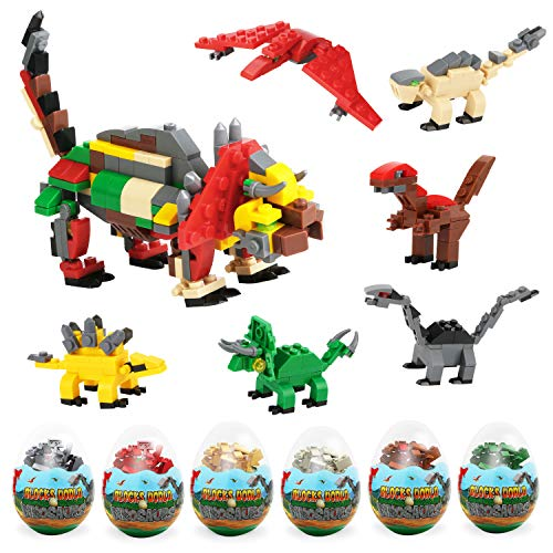 Phogary 6-in-1 Dinosauro Giocattoli Blocchi nelle Uova di Pasqua Jumbo, educativo Kit di Montaggio per Bambini Ragazze Bomboniere